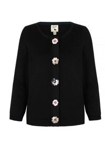 Yumi Cardigan With Floral Embellishments