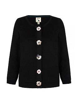 Cardigan With Floral Embellishments