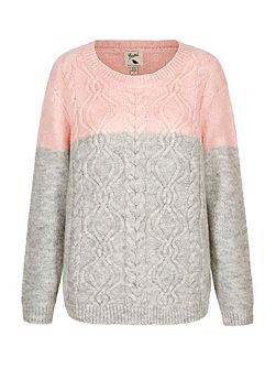 Two Toned Cable Knit Jumper