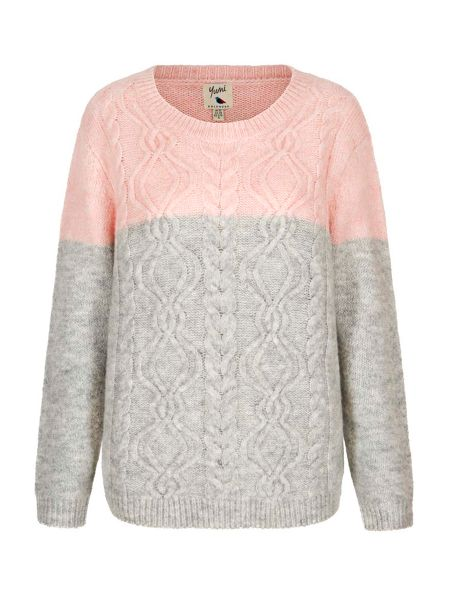 Yumi Two Toned Cable Knit Jumper