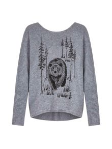 Yumi Bear Printed Wool Mix Jumper