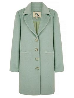 Mint Green Textured Collar Coat