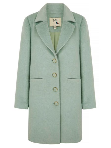 Yumi Mint Green Textured Collar Coat