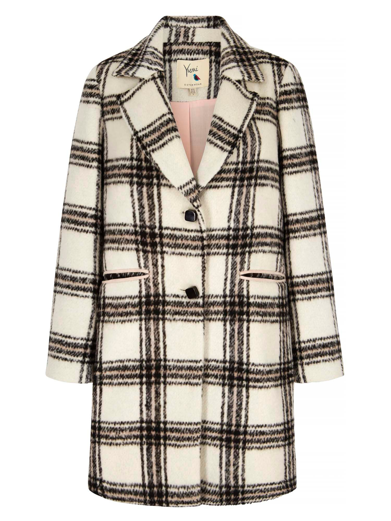 Yumi Check Print Single Breasted Coat, Grey