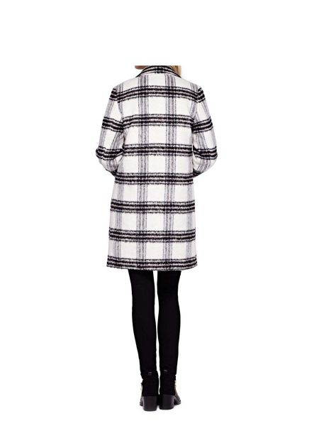 Yumi Check Print Single Breasted Coat