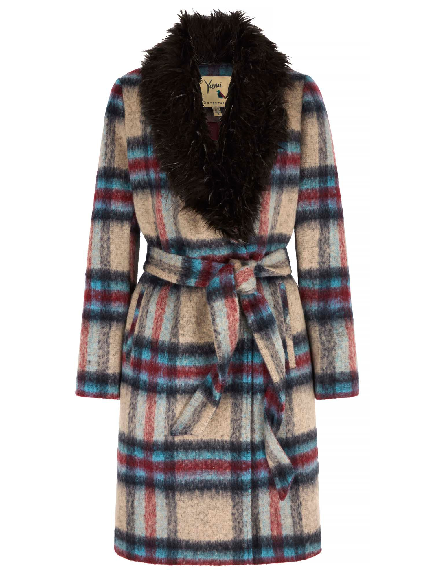 Retro Vintage Style Coats, Jackets, Fur Stoles Yumi Check Faux Fur Collared Wrap Coat Multi-Coloured £60.00 AT vintagedancer.com