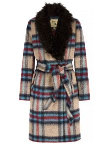 Yumi Check Faux Fur Collared Wrap Coat
