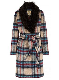 Check Faux Fur Collared Wrap Coat