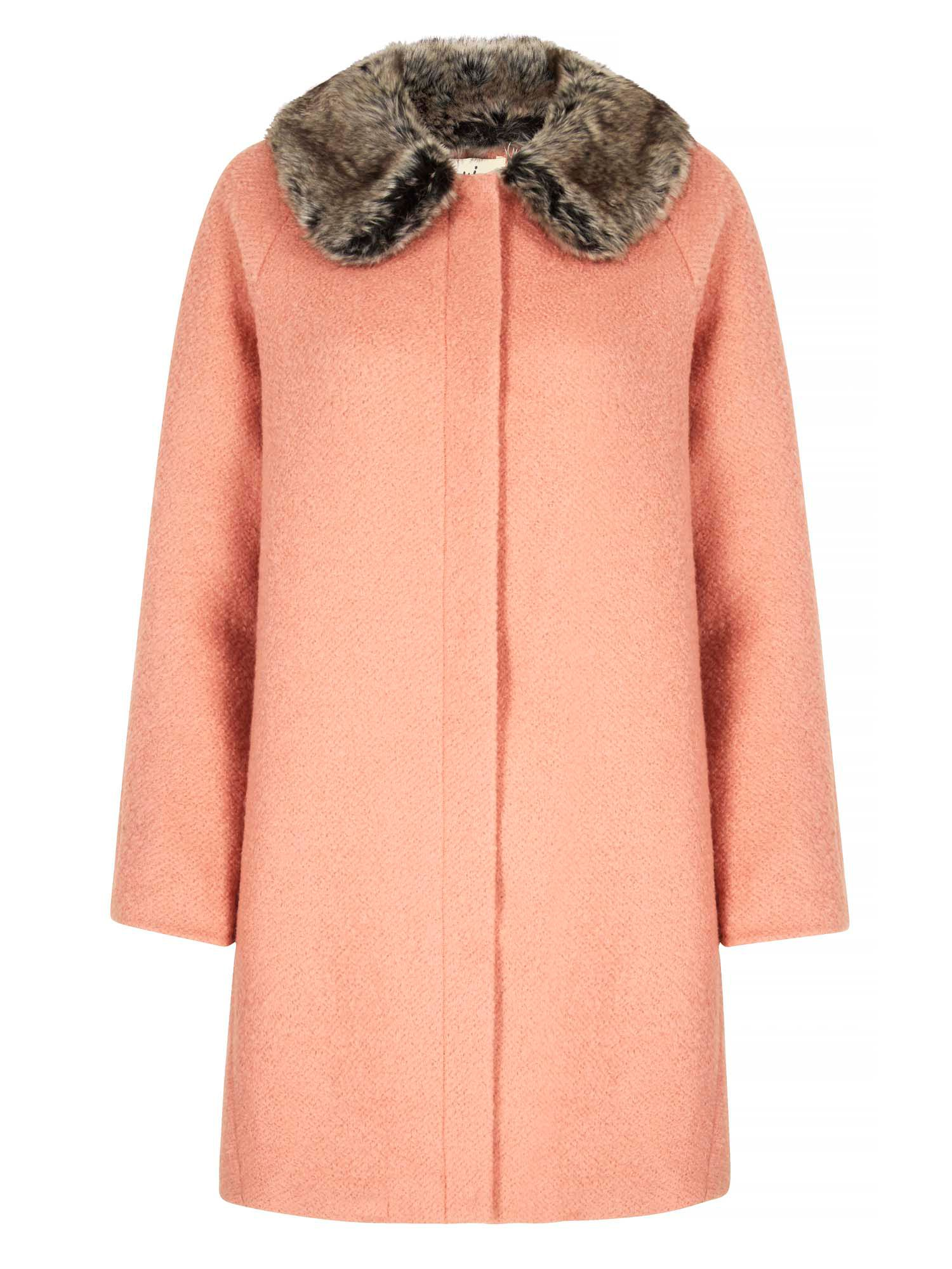 Shop 1960s Style Coats and Jackets Yumi Faux Fur Collared Cocoon Coat Coral £60.00 AT vintagedancer.com