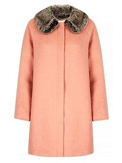 Faux Fur Collared Cocoon Coat