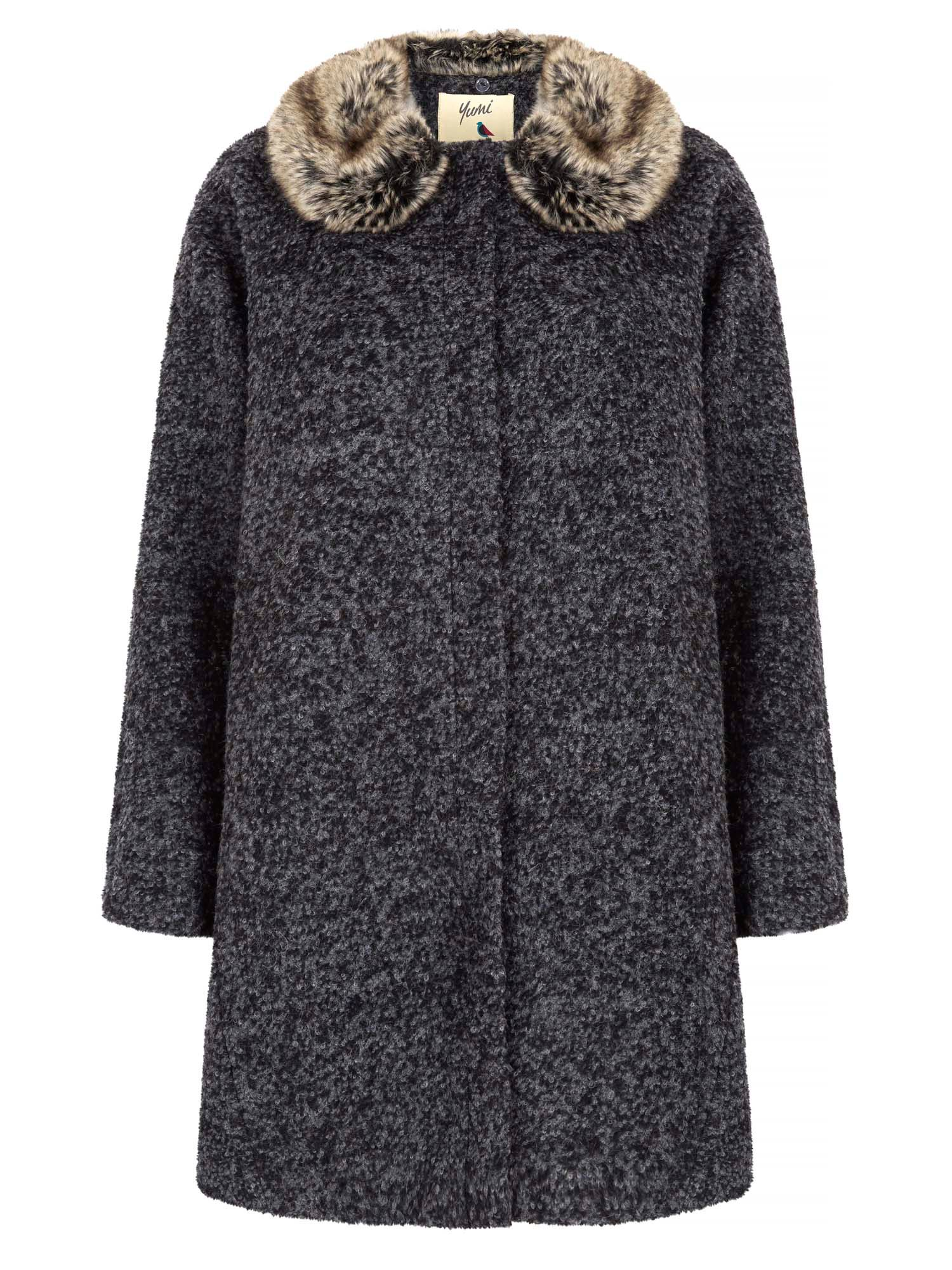 Yumi Faux Fur Collared Cocoon Coat, Grey