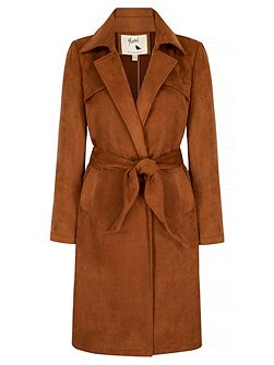 Suedette Wrap Front Trench Coat