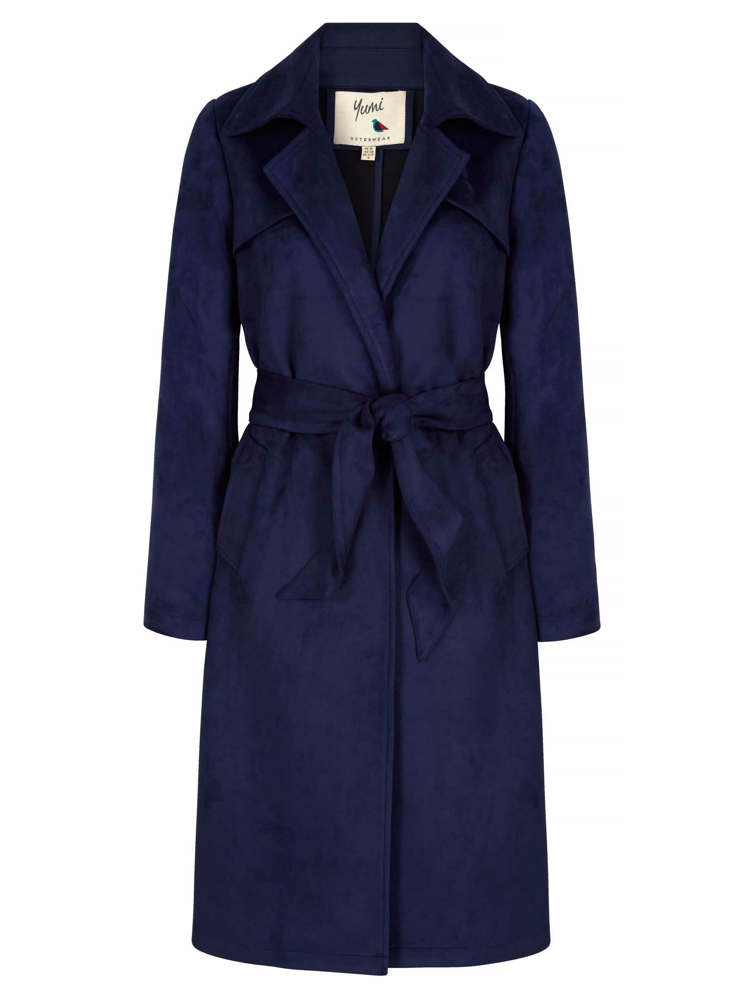 Yumi Suedette Wrap Front Trench Coat, Navy