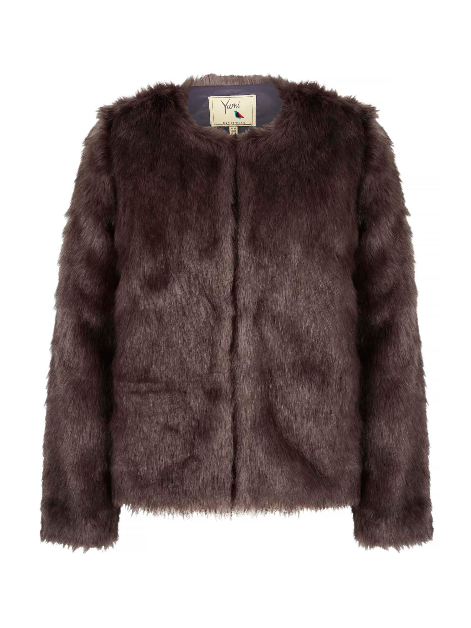 Yumi Fluffy Faux Fur Jacket, Grey
