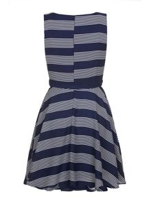 Yumi Fine Stripe Print Skater Dress