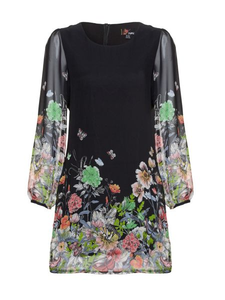 Yumi Butterfly and floral print dress