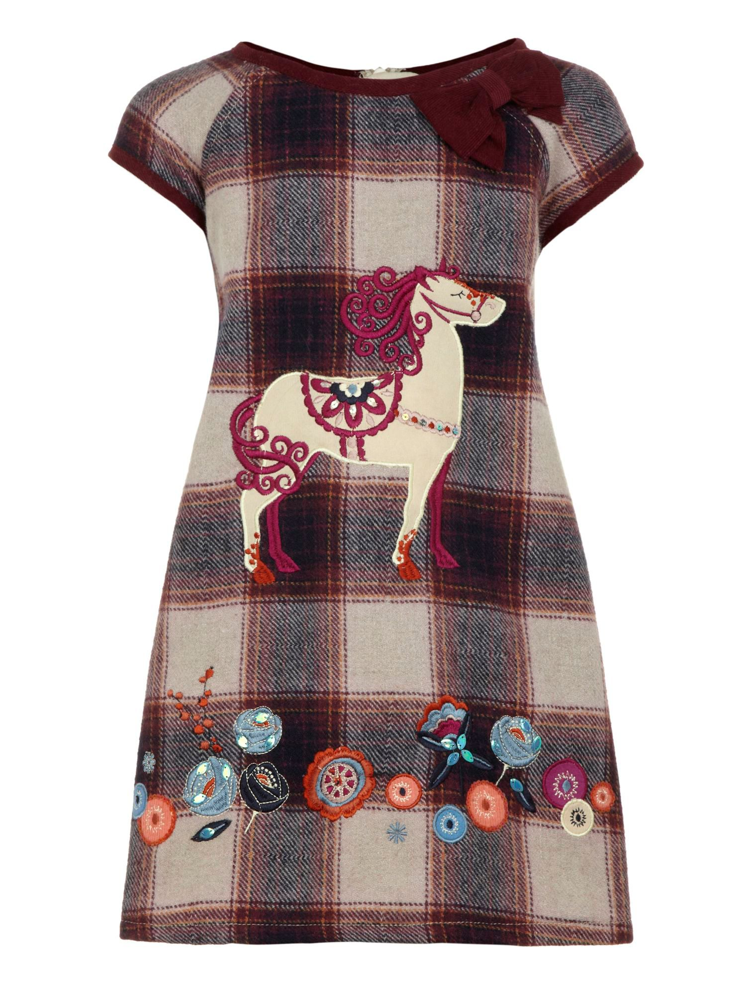 Girl`s check pony dress