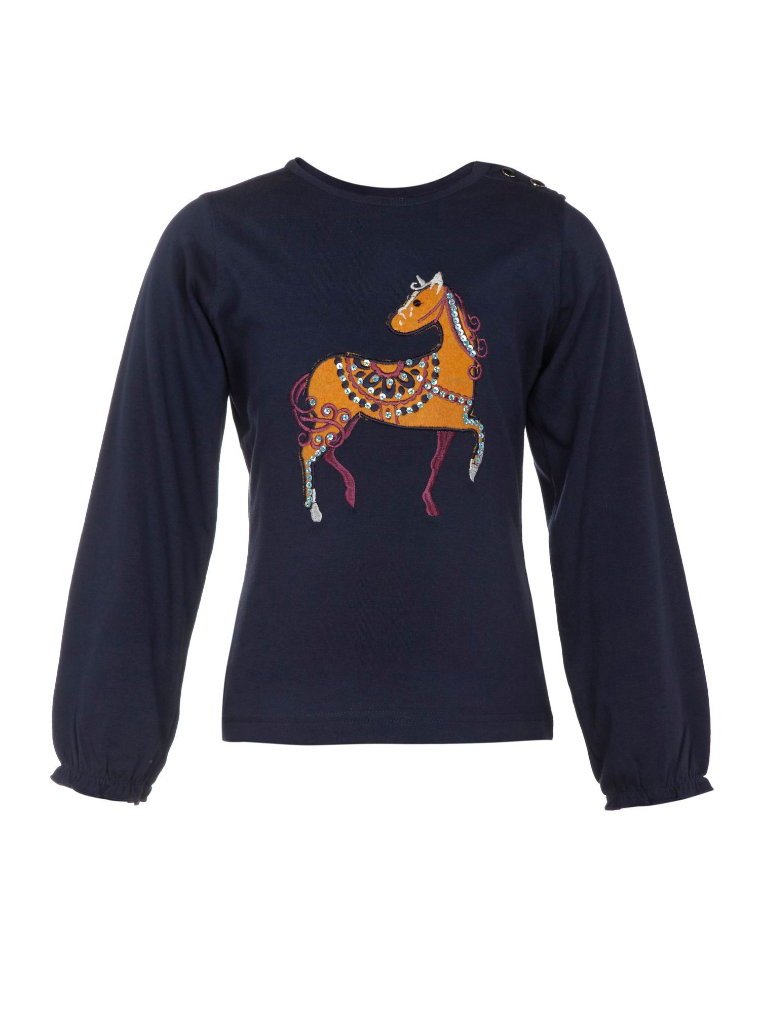 Girl`s long sleeve pony print top