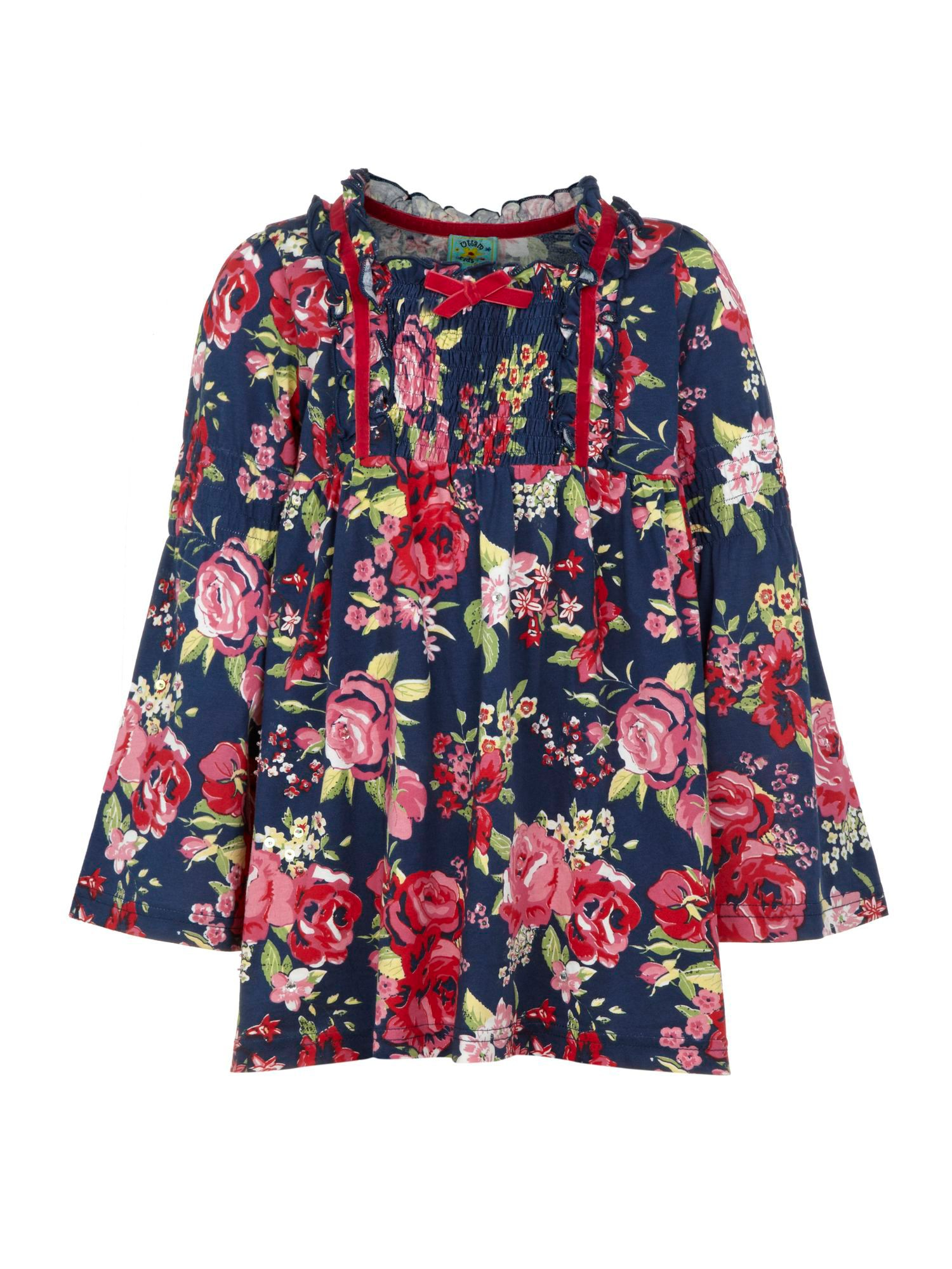 Girl's rose print smock top