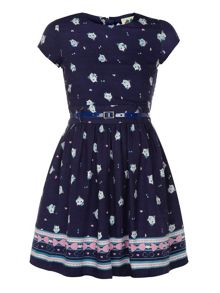 Yumi Girls Girl`s cat print dress