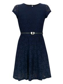 Girl`s lace belted dress