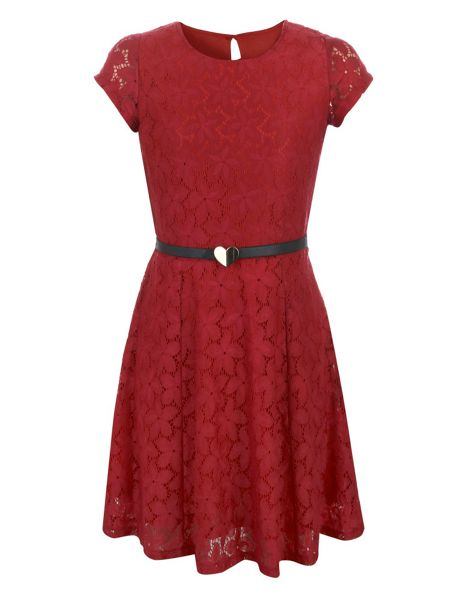 Yumi Girls Girl`s lace belted dress