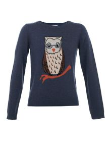 Yumi Girls Girl`s owl knit jumper