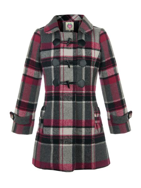 Yumi Girls Girl`s checked duffle coat