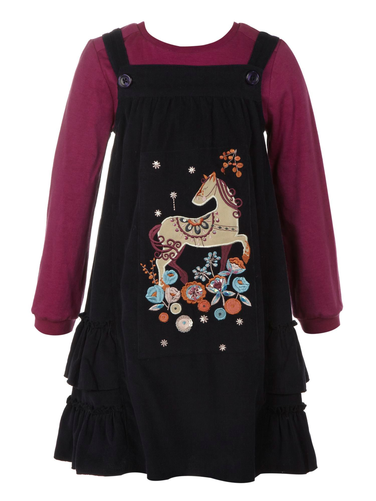 Girl`s pony pinafore dress