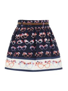 Girl`s glasses print skirt