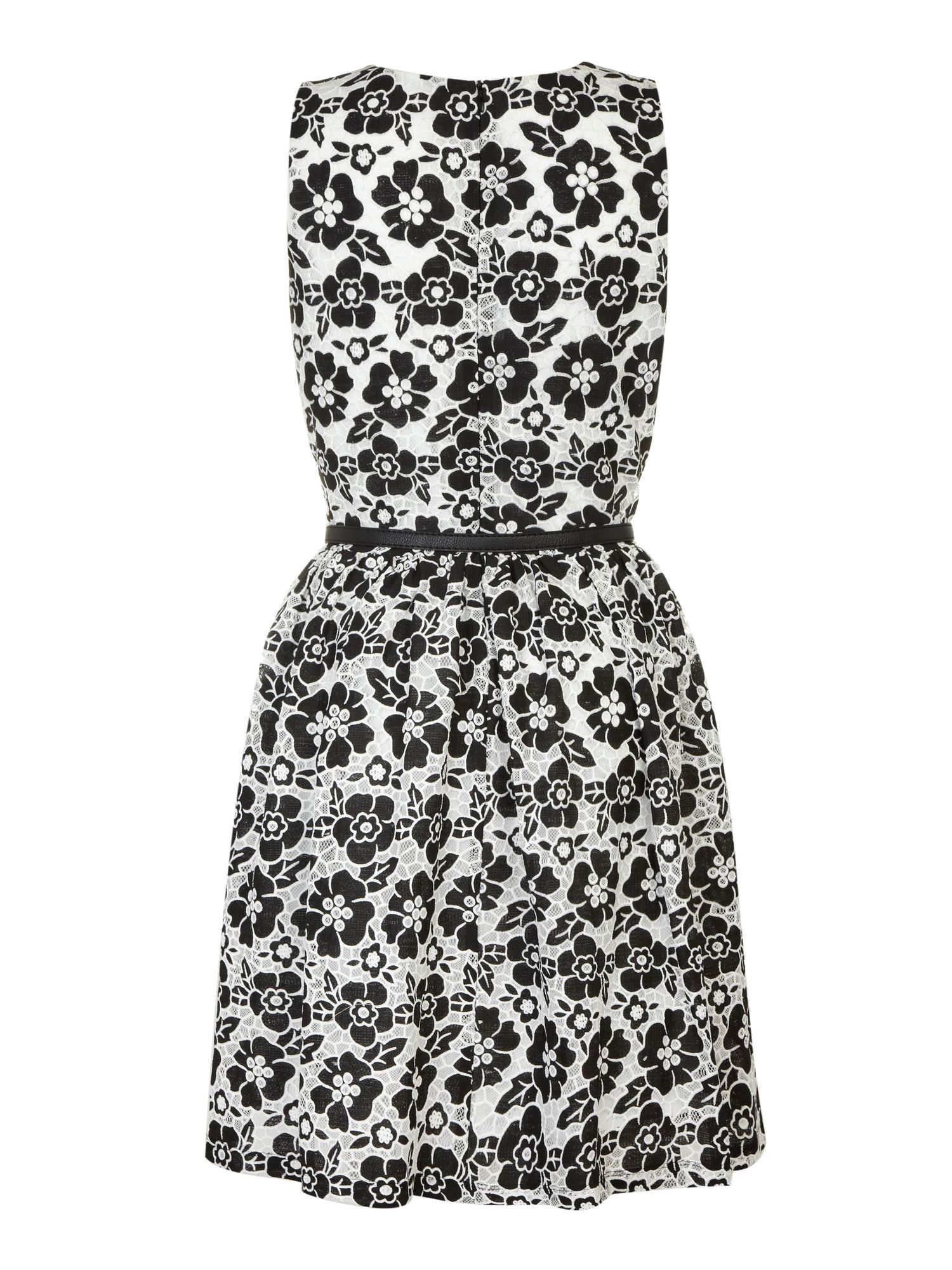 Flower lace fit and flare dress.