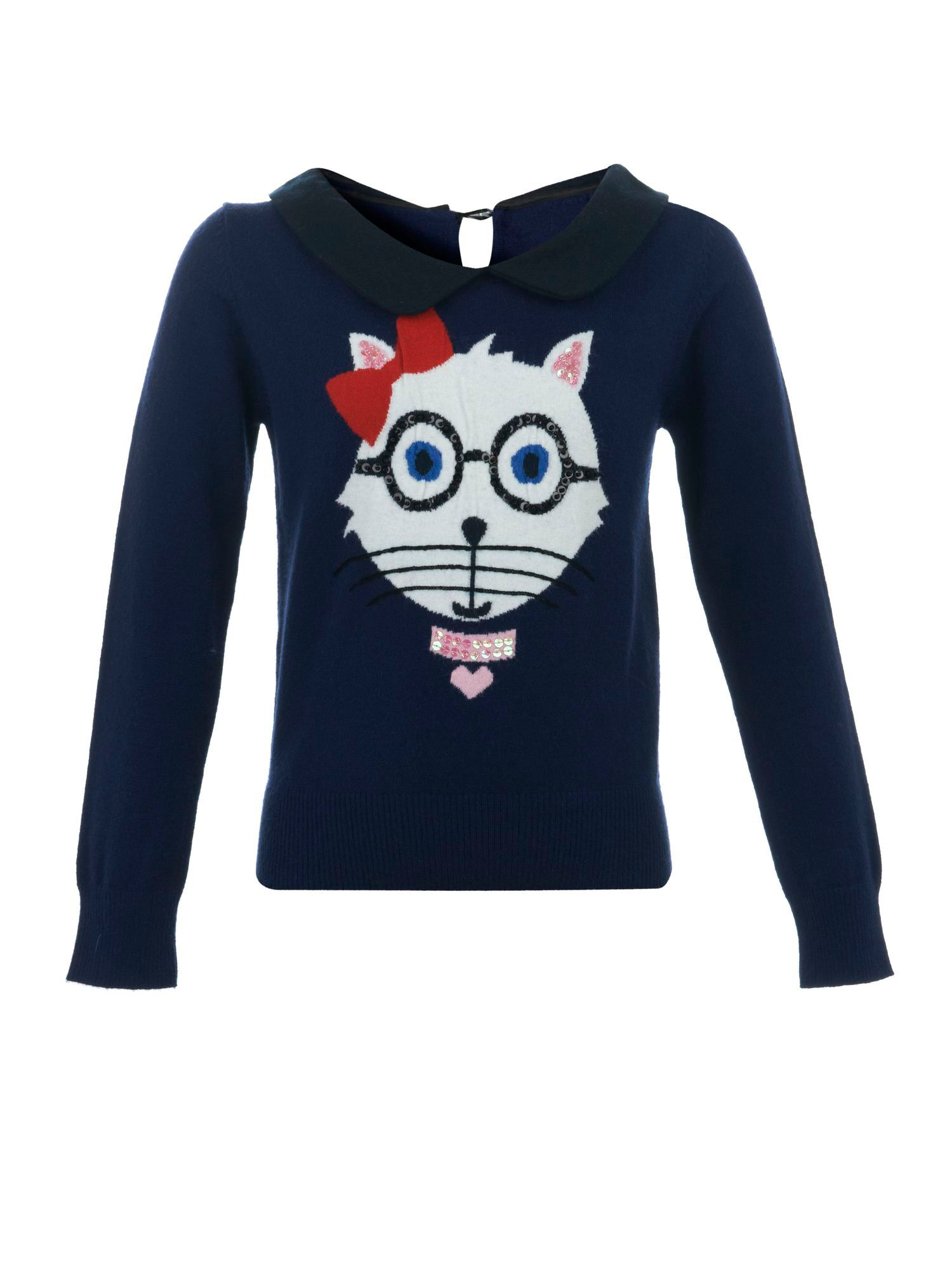Girl`s cat print jumper