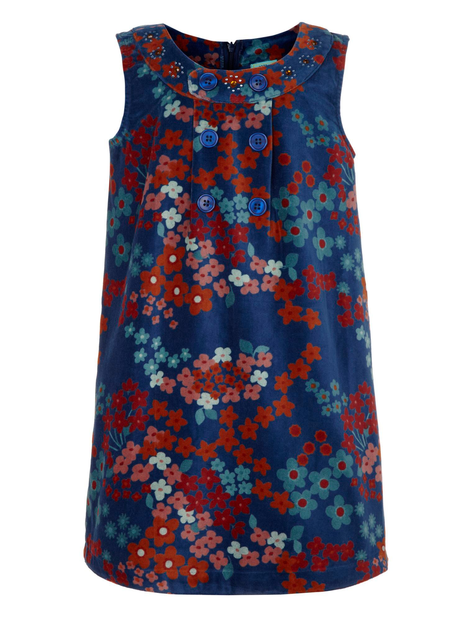 Girl`s flower print button dress