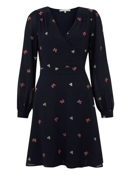Uttam Boutique Butterfly embroidered wrap dress