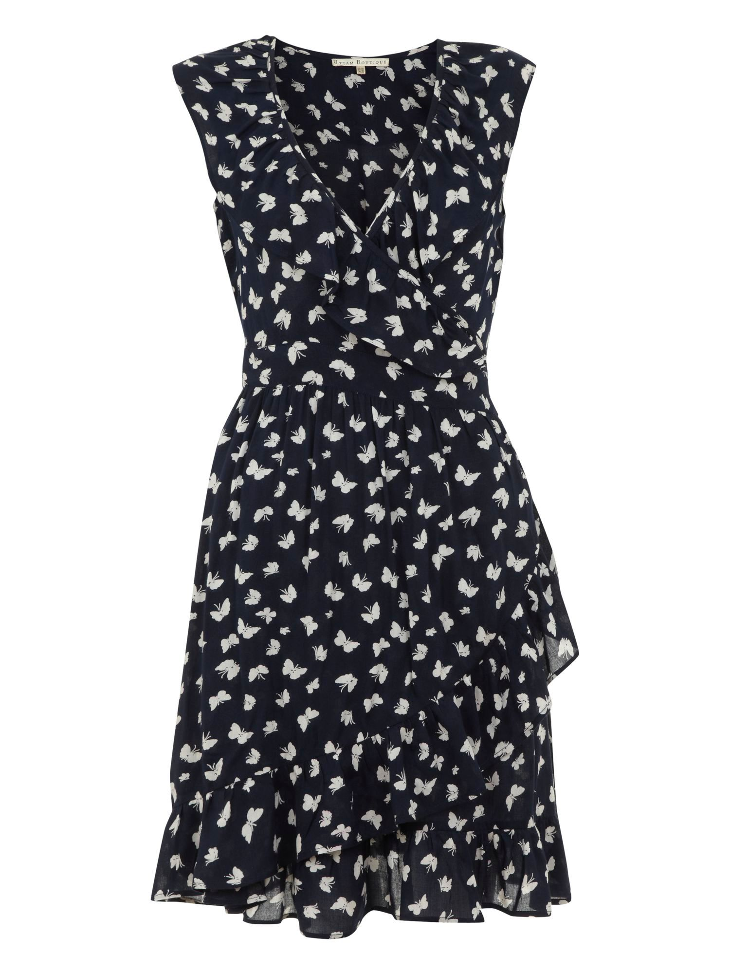 Butterfly frilly wrap dress
