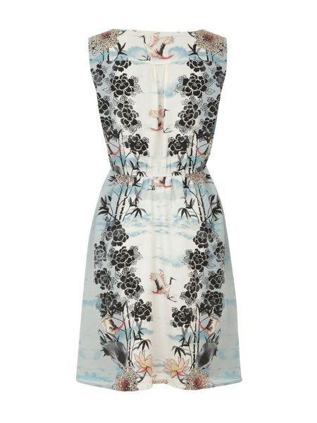 Uttam Boutique Crane & lotus print dress