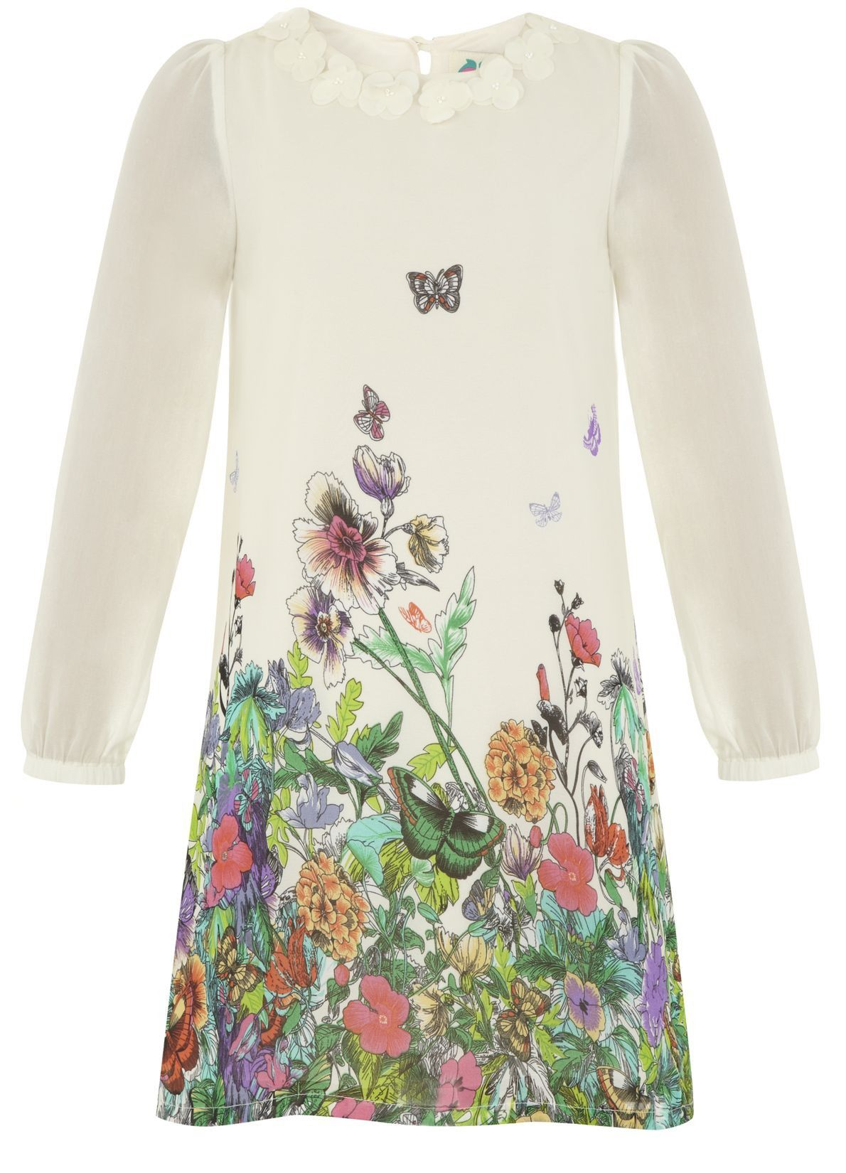 Girl`s butterfly garden chiffon dress