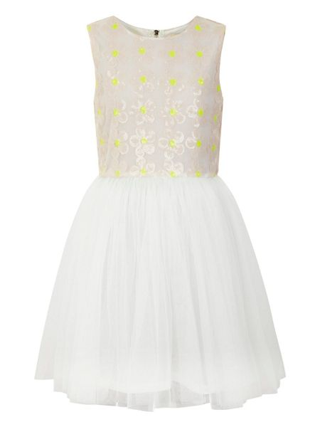 Yumi Girls Girl`s sequin daisy and mesh dress