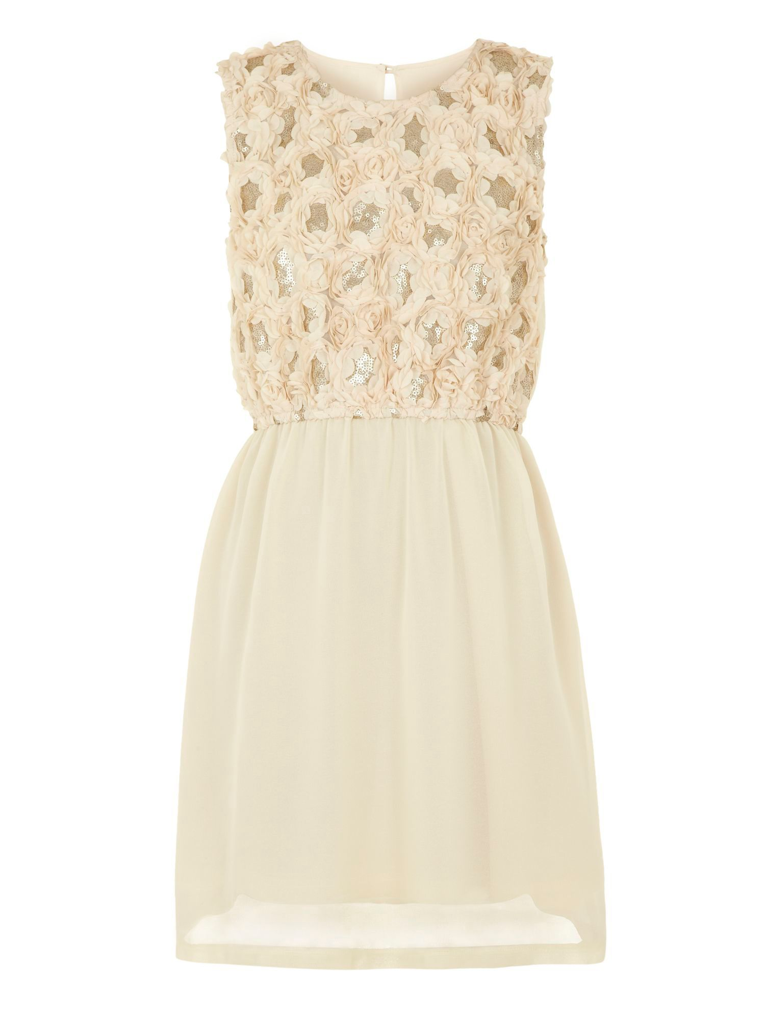 Girl`s floral sequin embellished dress