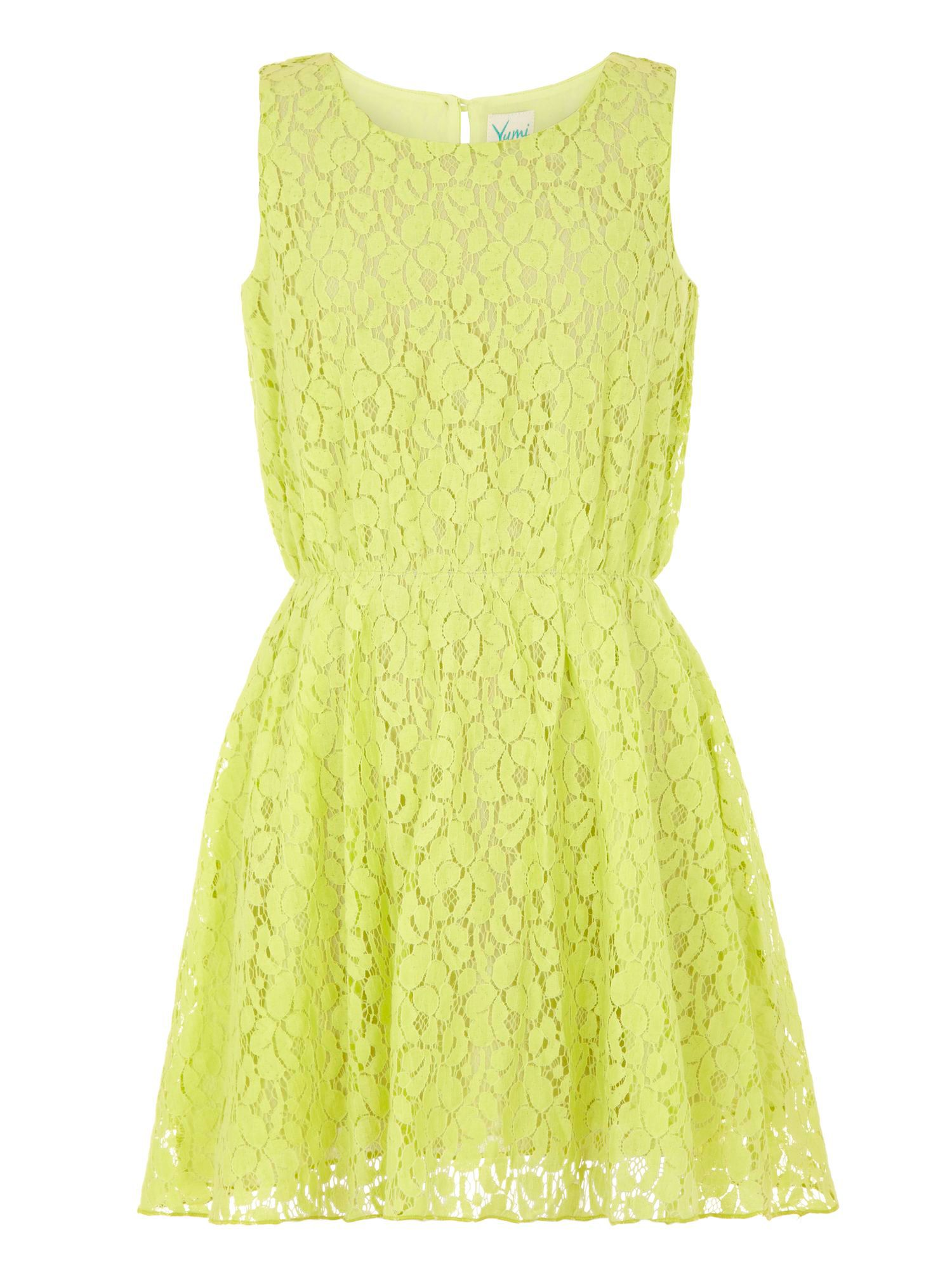 Girl`s bright lace dress