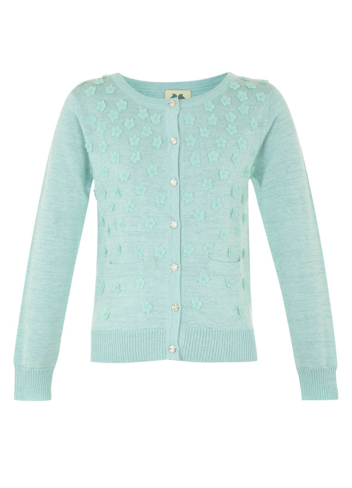 Girl`s laser cut flower cardigan