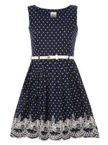 Girls spot & embroidery dress