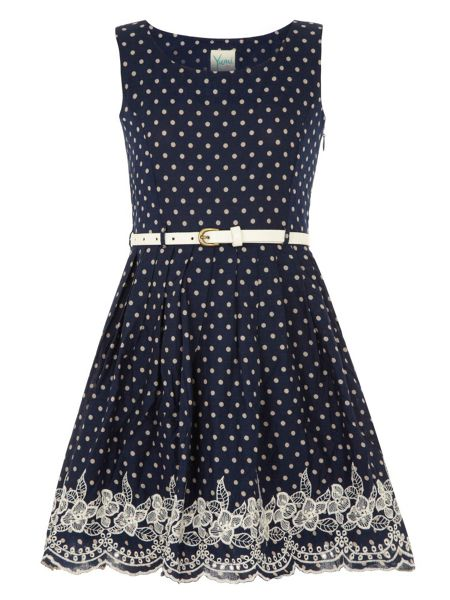 Yumi Girls Girls spot & embroidery dress