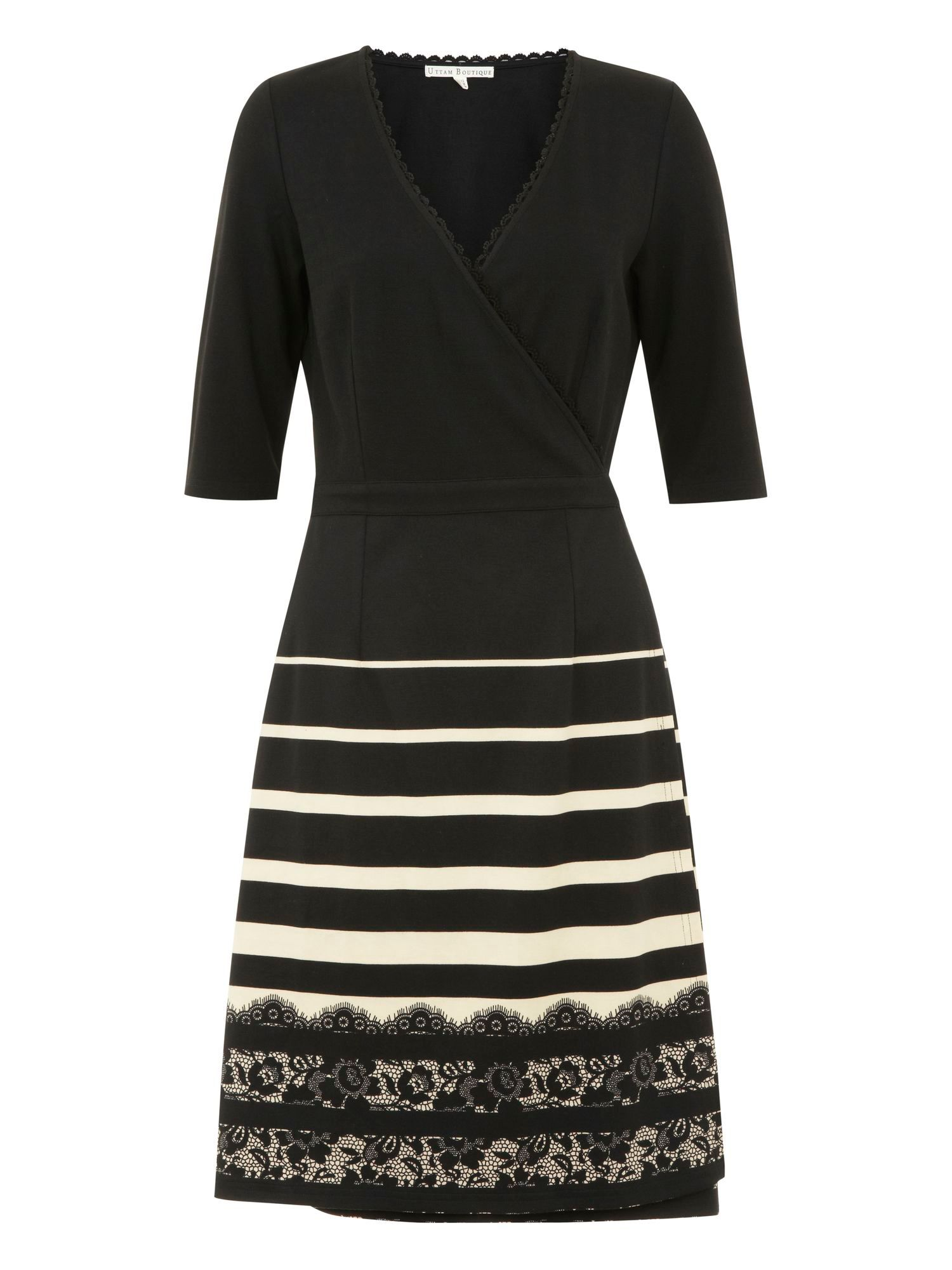 Lace & stripe print wrap dress