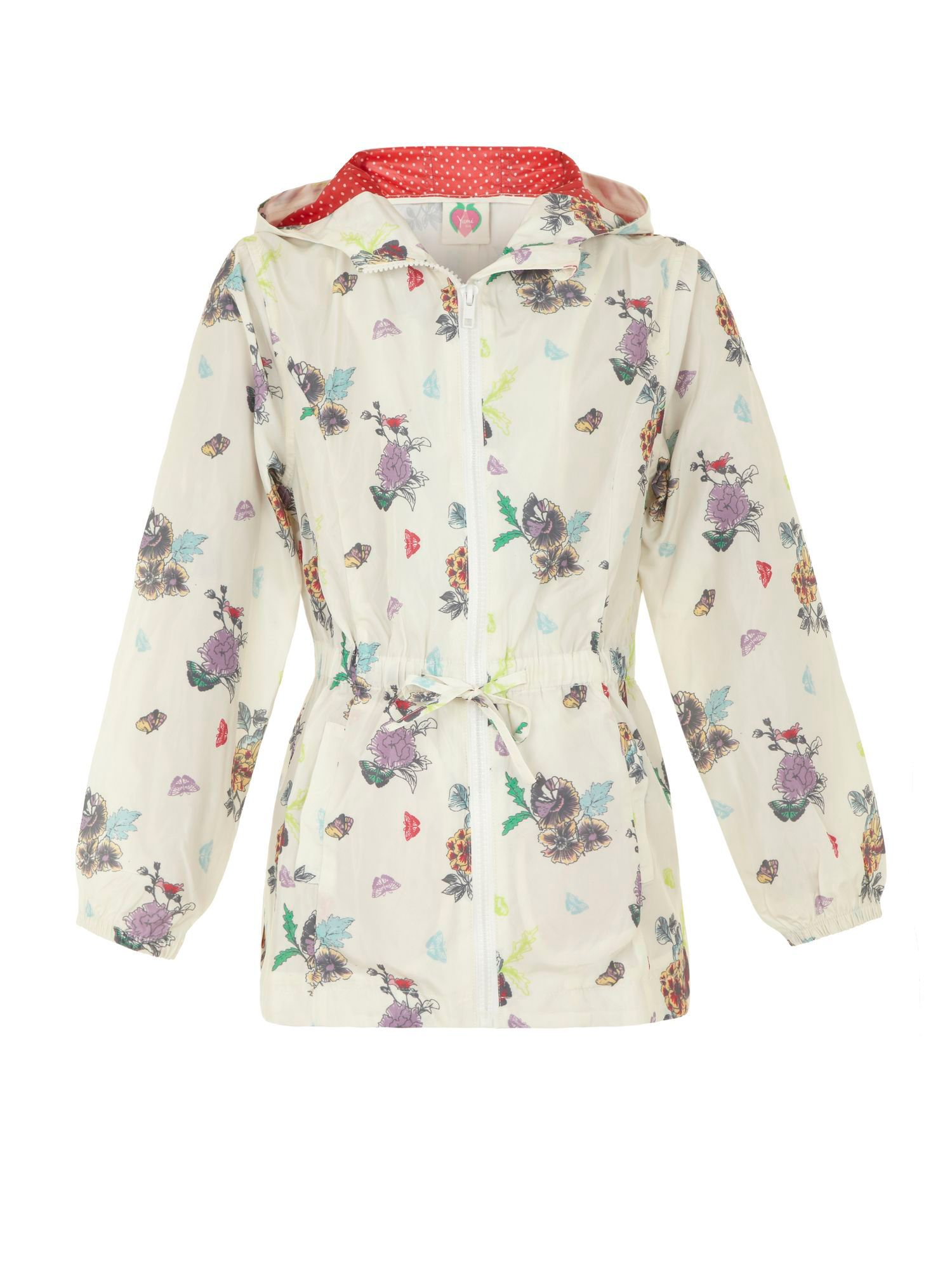 Girl`s floral hooded rain mac