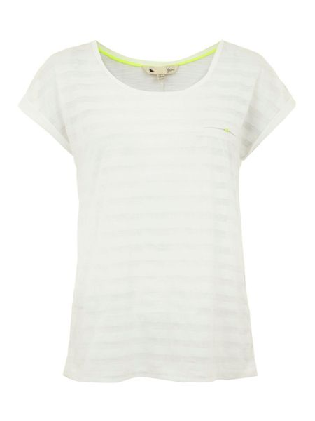 Yumi Sheer striped t-shirt