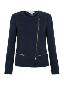 Ponte and lace jacket