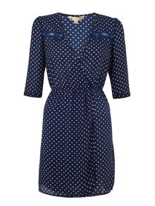 Polka dot faux wrap dress
