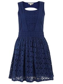 Yumi Broderie anglaise sleeveless dress