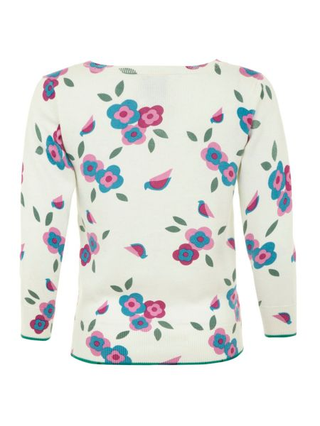 Yumi Bird and flower print cardigan